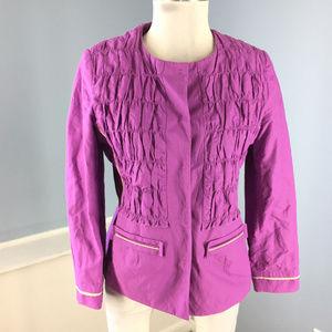 Elie Tahari M Purple Ruched Gathered Jacket Blazer